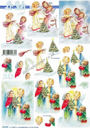 Christmas Trees & Children 3d Decoupage Sheet